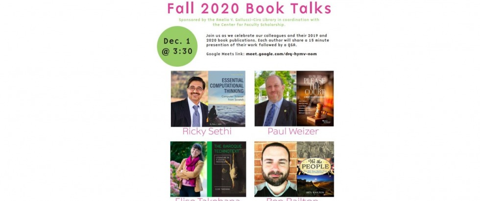 Center for Faculty Scholarship Fall 2020 Book Talks poster