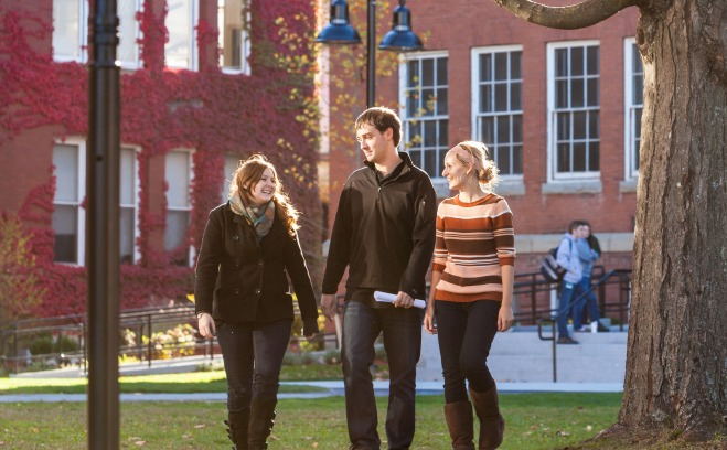 Fitchburg State students on the quad