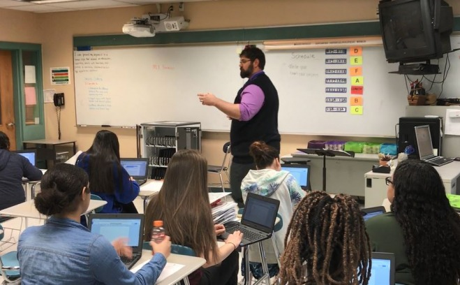 middle school educator in classroom