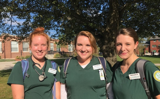 Group of nursing students on campus