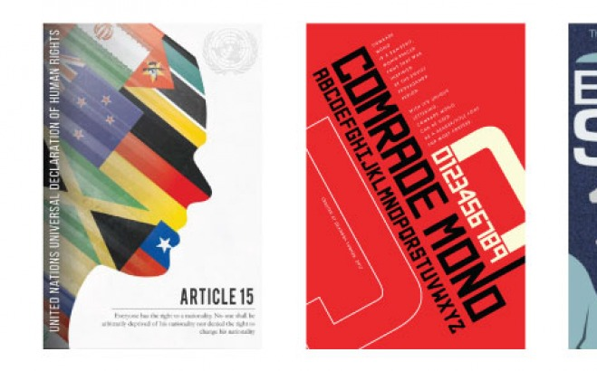 "Graphic design projects for ""Article 15"", ""Comrade Mono"", and ""Do Androids…"