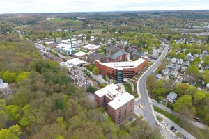 Aerial view of main campus from over North Street