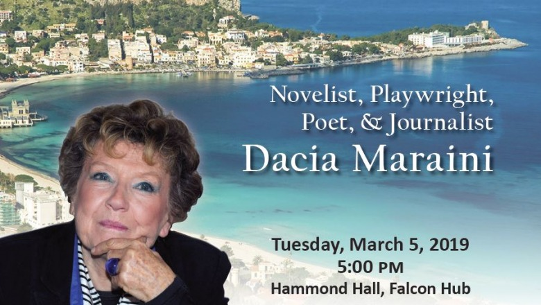 Acclaimed writer Dacia Maraini to speak on March 5