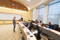 Wide shot of students in Percival Hall classroom