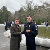 Sgt Ryan Nardone and Fitchburg State student Christopher Dickey