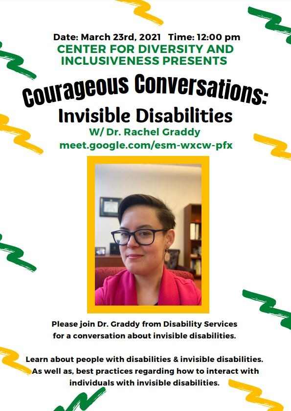 Poster for Invisible Disabilities discussion March 2021
