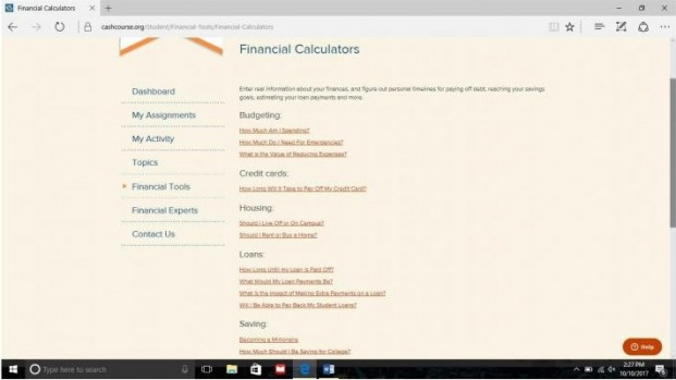 CrashCourse Financial Calculators page