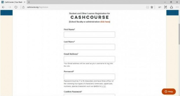 CrashCourse registration form