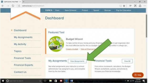 "CrashCourse dashboard with arrow pointing to ""View Assignments"""