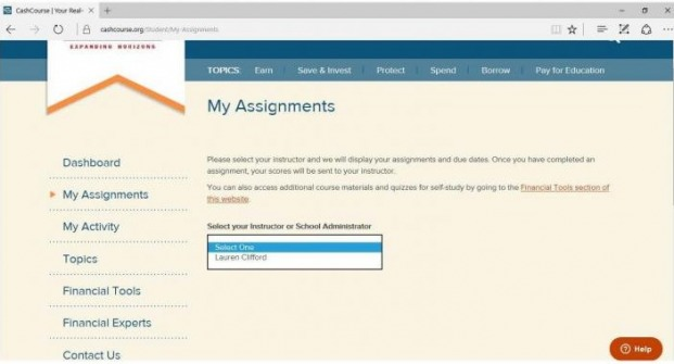 "CrashCourse ""My Assignments"" page with dropdown menu to select instructor"
