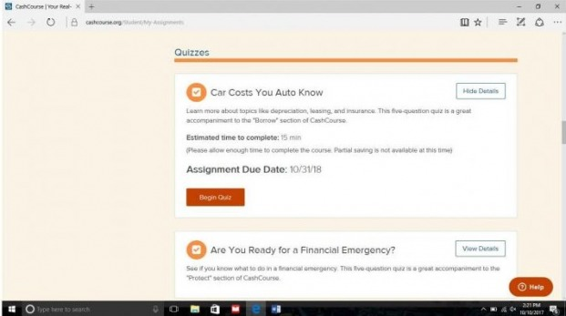 List of available CrashCourse quizzes