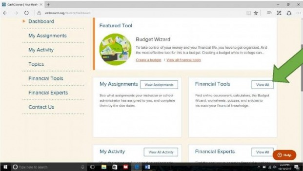 """Financial Tools"" box on CrashCourse with arrow pointing to ""View All"""