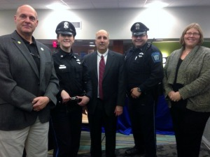 Fitchburg State Police officers with faculty members