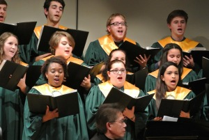 Students performing in a Fitchburg State Choir