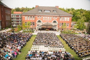 Commencement ceremony in the quad