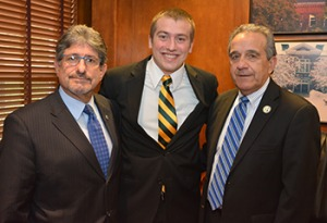 Nathan Gregoire, center, with President Antonucci and State Rep. Stephen DiNatale
