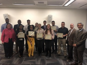 Pictured at the conclusion of the Fitchburg State University Falcon Leadership Certification course,…