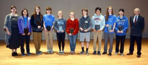 Fitchburg State Mathematics Department Chair Jenn Berg, grade 10 third-place finisher Vivian Lu…