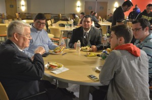 Appeals Court Justice Lemire speaks with students
