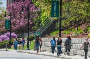 Students walking down North Street