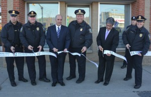 Officers and Richard Lapidus at ribbon cutting ceremony