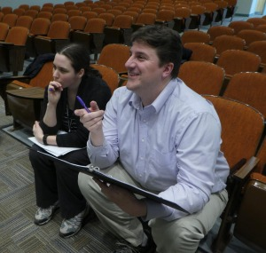 "Playwright Samantha deManbey and director Matthew Cogswell at a rehearsal of ""Shadows in the…"