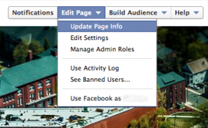 """Update Page Info"" highlighted in the ""Edit Page"" dropdown menu on Facebook"