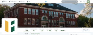 The top of the Fitchburg State University Twitter page
