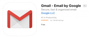 Gmail app listing in the Apple App Store.