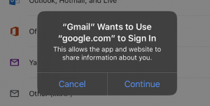 Screenshot showing the prompt Gmail Wants to Use google.com to Sign In.