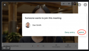 Screenshot showing the prompt to allow an external participant to join a Google Meet.