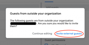 Screenshot showing the message that appears when you add a non-FSU guest through Google Calendar.