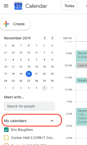 Screenshot showing the location of My calendars.