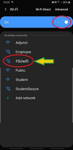 Image showing the slider used to turn Wi-Fi on and the list of networks with FSUwifi circled.