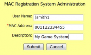Image showing the registration info screen.