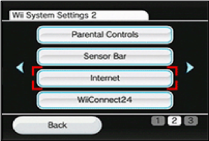 "Image showing the ""Internet"" button on the ""Wii System Settings"" page."