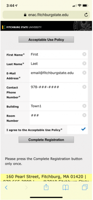 Screenshot showing the page where you enter your registration info and accept the Acceptable Use…