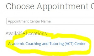 "a screenshot showing the location ""Academic Coaching and Tutoring Center"""